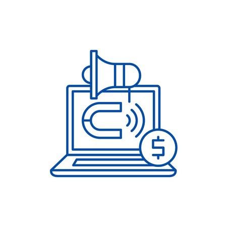 External marketing line concept icon. External marketing flat  vector website sign, outline symbol, illustration.