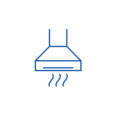 Extractor,cooker hood line concept icon. Extractor,cooker hood flat  vector website sign, outline symbol, illustration.