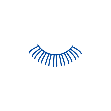 Eyelashes line concept icon. Eyelashes flat  vector website sign, outline symbol, illustration.