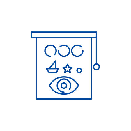 Eyesight check line concept icon. Eyesight check flat  vector website sign, outline symbol, illustration.