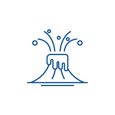 Eruption line concept icon. Eruption flat  vector website sign, outline symbol, illustration.