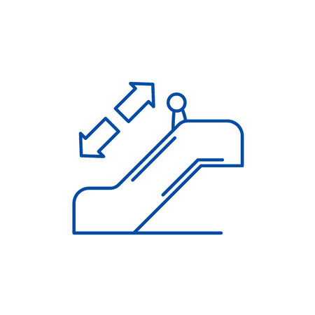 Escalator line concept icon. Escalator flat  vector website sign, outline symbol, illustration.
