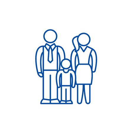European family line concept icon. European family flat  vector website sign, outline symbol, illustration.