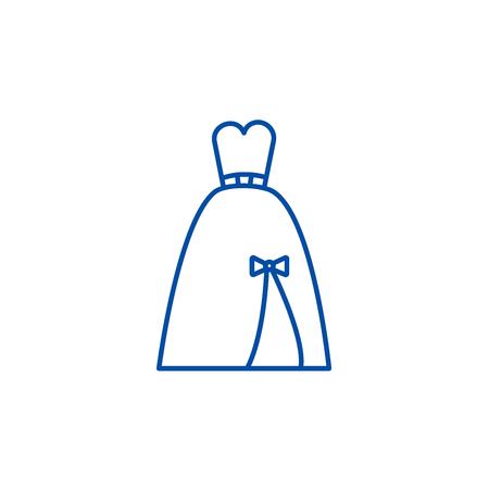 Evening bridal dress line concept icon. Evening bridal dress flat  vector website sign, outline symbol, illustration.
