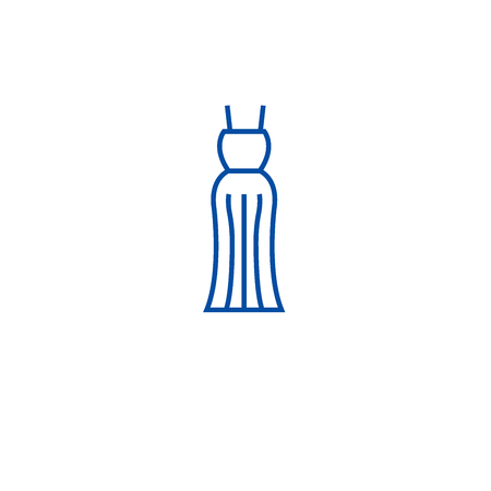 Evening gown line concept icon. Evening gown flat  vector website sign, outline symbol, illustration.