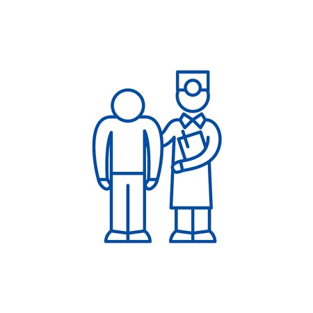 Examination of the patient by the doctor line concept icon. Examination of the patient by the doctor flat vector website sign, outline symbol, illustration.