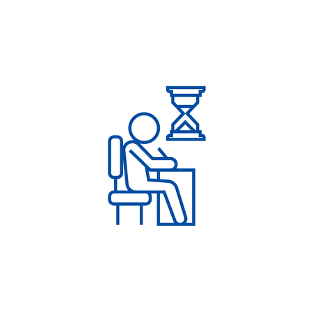 Examing, test, writing man at desk line concept icon. Examing, test, writing man at desk flat  vector website sign, outline symbol, illustration. Stock Vector - 119743296