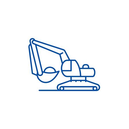 Icône de concept de ligne de travaux d'excavatrice. L'excavatrice fonctionne à plat, signe de site Web vectoriel, symbole du contour, illustration. Vecteurs