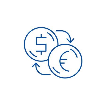 Exchange of dollars for euros line concept icon. Exchange of dollars for euros flat  vector website sign, outline symbol, illustration.