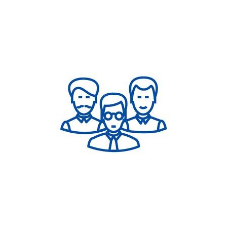 Engineers team line concept icon. Engineers team flat  vector website sign, outline symbol, illustration.