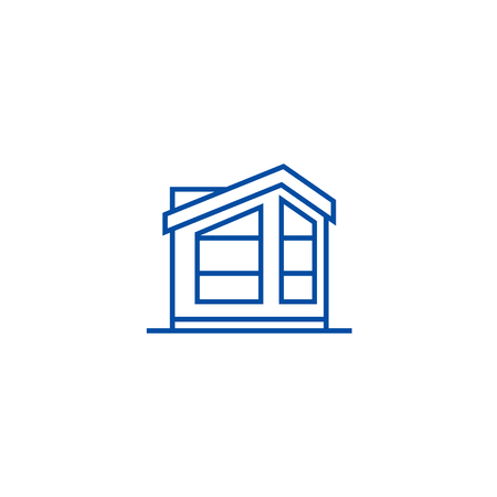 English cottage line concept icon. English cottage flat  vector website sign, outline symbol, illustration. Illustration
