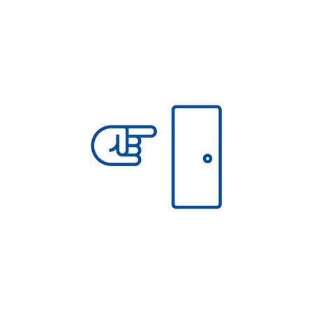 Exit line concept icon. Exit flat  vector website sign, outline symbol, illustration. Standard-Bild - 119743322