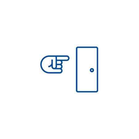 Exit line concept icon. Exit flat  vector website sign, outline symbol, illustration.