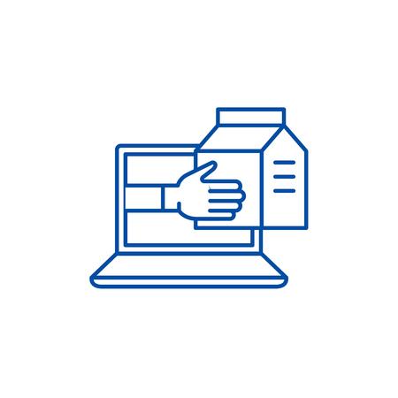 Express delivery service line concept icon. Express delivery service flat  vector website sign, outline symbol, illustration.