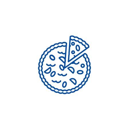 Pie bakery line concept icon. Pie bakery flat  vector website sign, outline symbol, illustration.
