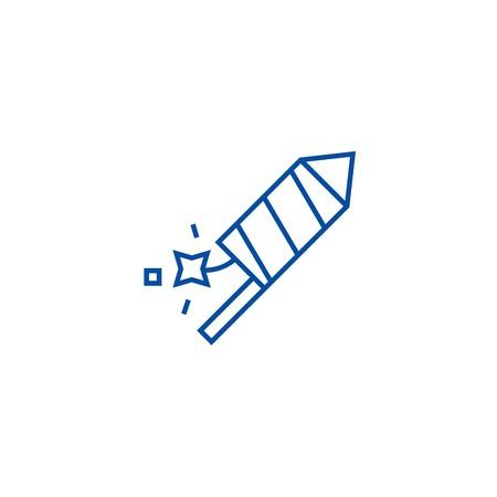Petard,fire show line concept icon. Petard,fire show flat  vector website sign, outline symbol, illustration.