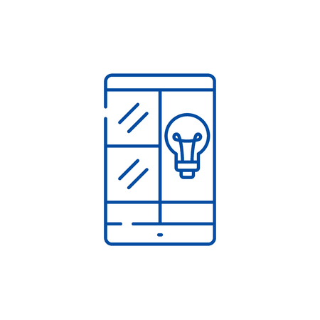 Phablet idea line concept icon. Phablet idea flat  vector website sign, outline symbol, illustration. Illustration