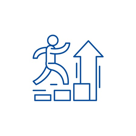 Personal improvement line concept icon. Personal improvement flat vector website sign, outline symbol, illustration.