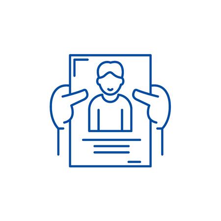 Personnel management line concept icon. Personnel management flat  vector website sign, outline symbol, illustration. Illustration