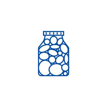 Pickles,marinade tomato line concept icon. Pickles,marinade tomato flat  vector website sign, outline symbol, illustration.