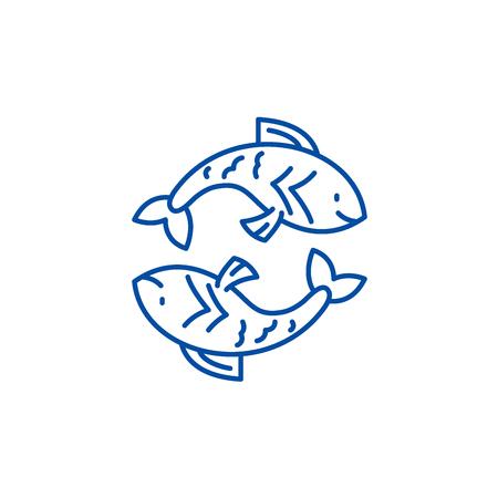 Pisces zodiac sign line concept icon. Pisces zodiac sign flat  vector website sign, outline symbol, illustration.