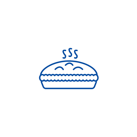 Pie with meat line concept icon. Pie with meat flat  vector website sign, outline symbol, illustration. Illustration