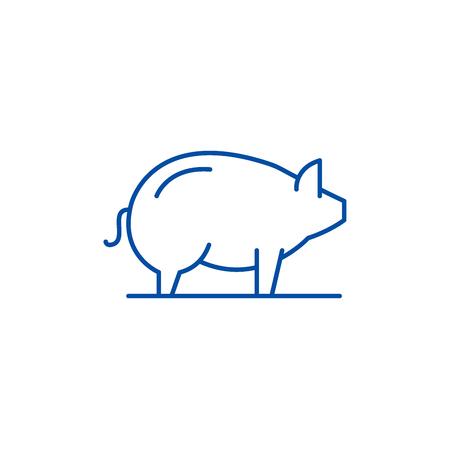 Pig line concept icon. Pig flat  vector website sign, outline symbol, illustration. Illustration
