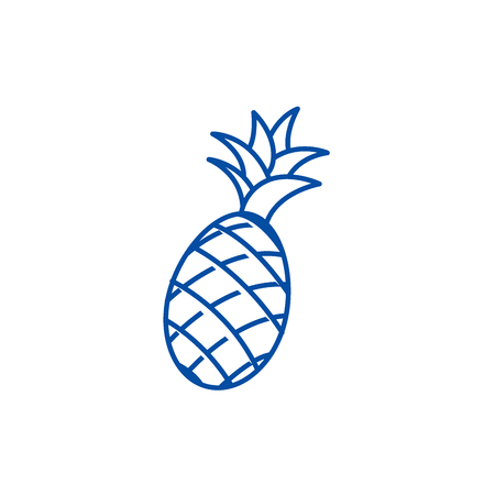 Pineapple line concept icon. Pineapple flat  vector website sign, outline symbol, illustration. Ilustração