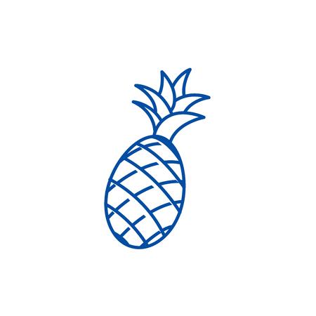 Pineapple line concept icon. Pineapple flat  vector website sign, outline symbol, illustration. Illustration