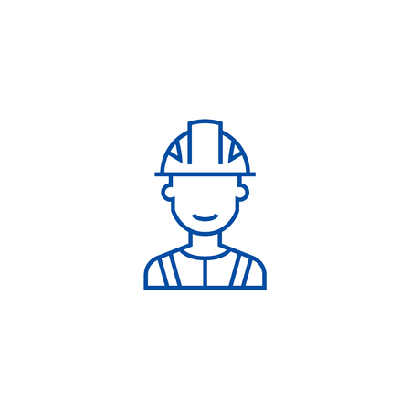 Engineer, industry line concept icon. Engineer, industry flat  vector website sign, outline symbol, illustration. Illustration