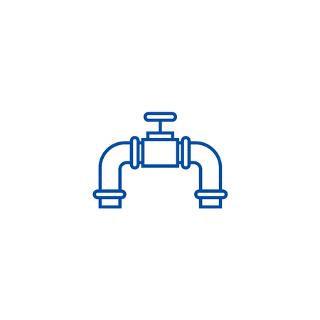 Pipes with gas valve line concept icon. Pipes with gas valve flat  vector website sign, outline symbol, illustration. Illustration