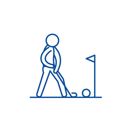 Playing golf line concept icon. Playing golf flat  vector website sign, outline symbol, illustration. 向量圖像