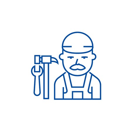 Plumber line concept icon. Plumber flat  vector website sign, outline symbol, illustration.
