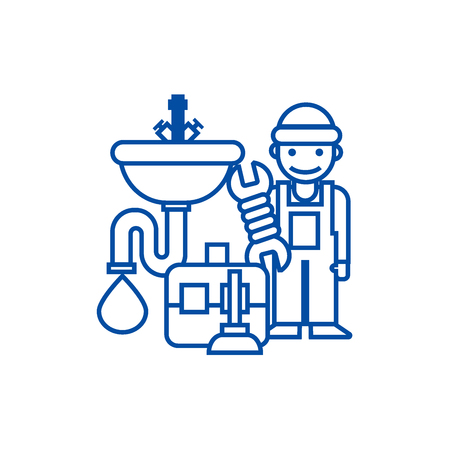Plumber service,tools,sink line concept icon. Plumber service,tools,sink flat  vector website sign, outline symbol, illustration.