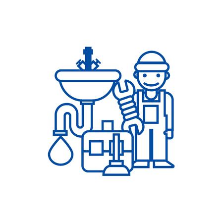 Plumber service,tools,sink line concept icon. Plumber service,tools,sink flat  vector website sign, outline symbol, illustration.