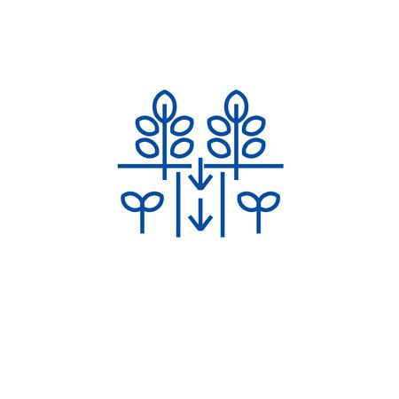 Plantation field line concept icon. Plantation field flat  vector website sign, outline symbol, illustration. Ilustrace