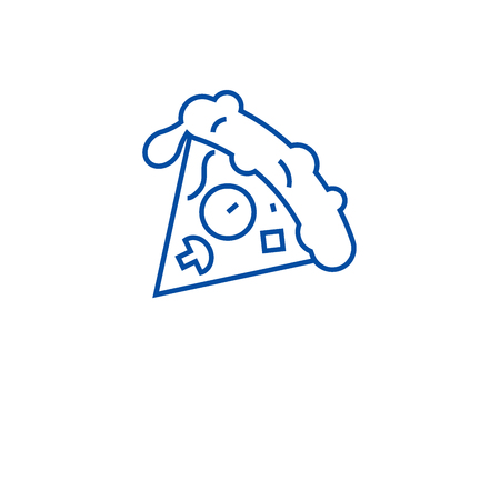 Pizza slice line concept icon. Pizza slice flat  vector website sign, outline symbol, illustration.