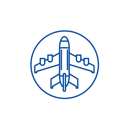Plane landing line concept icon. Plane landing flat  vector website sign, outline symbol, illustration.