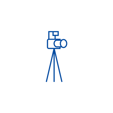 Photo camera with tripod line concept icon. Photo camera with tripod flat  vector website sign, outline symbol, illustration.