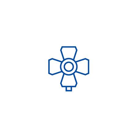 Photo light illustration line concept icon. Photo light illustration flat  vector website sign, outline symbol, illustration.