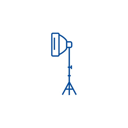 Photo light with stand tripod line concept icon. Photo light with stand tripod flat  vector website sign, outline symbol, illustration.