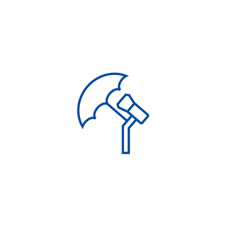 Photo light with umbrella line concept icon. Photo light with umbrella flat  vector website sign, outline symbol, illustration. Archivio Fotografico - 119743594