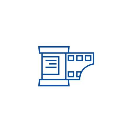 Photo strip line concept icon. Photo strip flat  vector website sign, outline symbol, illustration. Illustration
