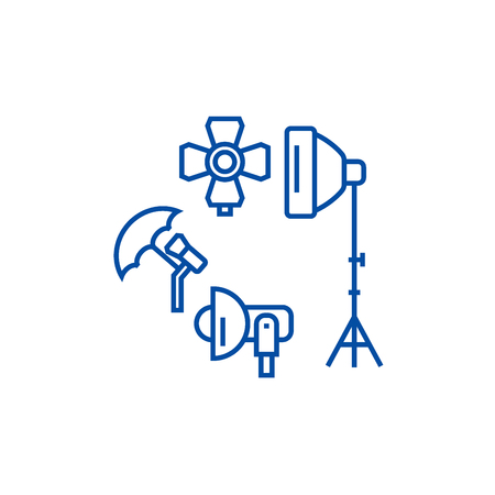 Photo studio, lighting equipment line concept icon. Photo studio, lighting equipment flat  vector website sign, outline symbol, illustration.