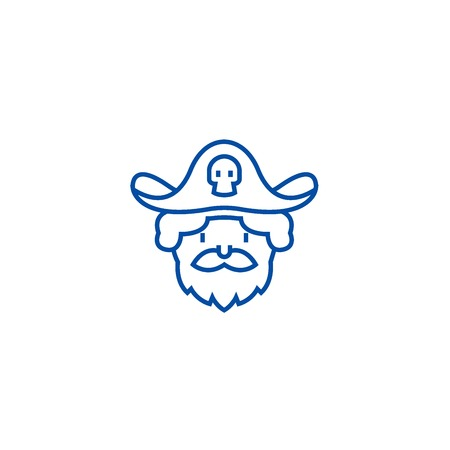 Pirate line concept icon. Pirate flat  vector website sign, outline symbol, illustration. Illustration