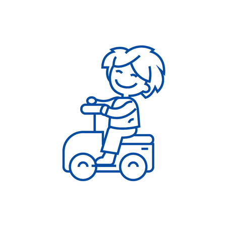 Playing boy driving on car line concept icon. Playing boy driving on car flat  vector website sign, outline symbol, illustration. Illustration