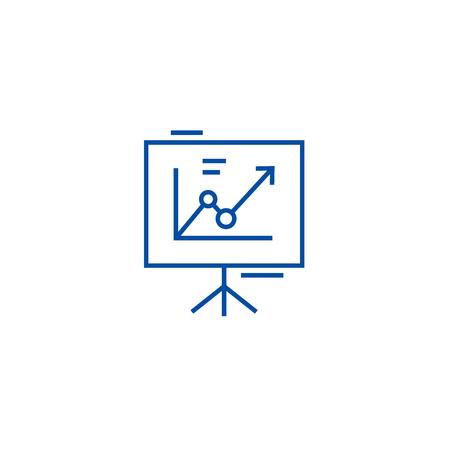 Tableau de présentation, icône de concept de ligne de tableau à feuilles mobiles. Tableau de présentation, flip chart, signe de site Web vectoriel plat, symbole du contour, illustration.