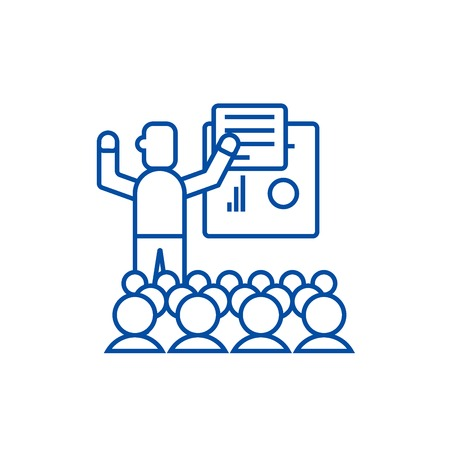 Presentation,meeting,lecture line concept icon. Presentation,meeting,lecture flat  vector website sign, outline symbol, illustration. Иллюстрация