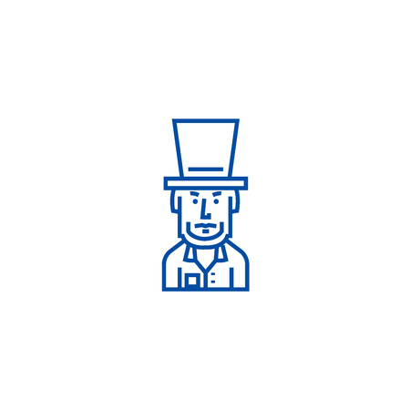 President usa,abraham lincoln line concept icon. President usa,abraham lincoln flat  vector website sign, outline symbol, illustration.