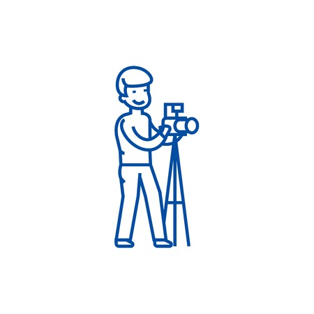 Photographer with camera and  line concept icon. Photographer with camera and  flat  vector website sign, outline symbol, illustration. Zdjęcie Seryjne - 119743653